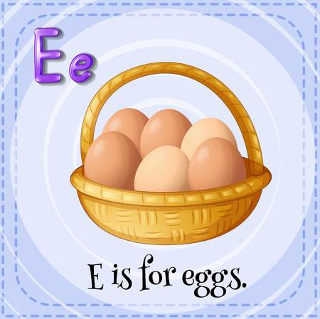 e learn: Illustration of a letter e is for eggs