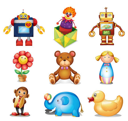 Set of toys on a white background Vector