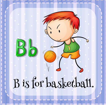 bouncing: Illustration of a letter B is for basketball