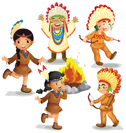 Illustration of american indians dancing around the campfire Vector