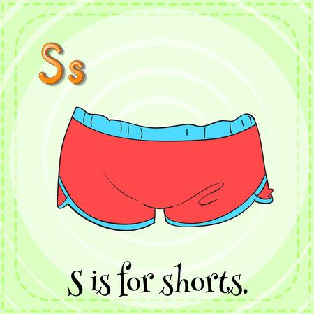 children s: Illustration of a letter S is for shorts Illustration