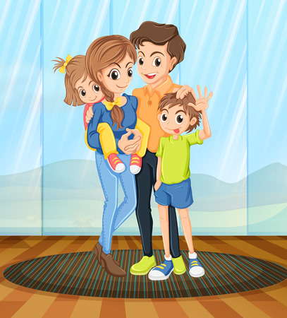 family relationships: Illustration of a family standing in the room Illustration
