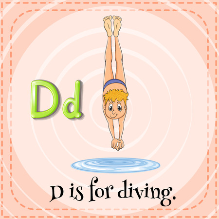 Illustration of a letter D is for diving Vector