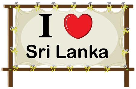 Illustration of i love Sri Lanka sign Vector