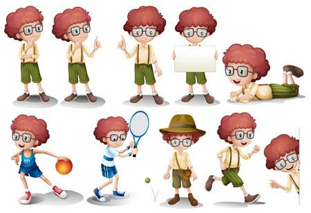 boy with glasses: Illustration of a red head boy in different position Illustration
