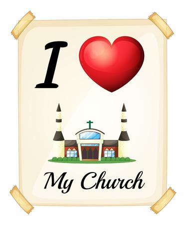 Illustration of I love my church sign Vector