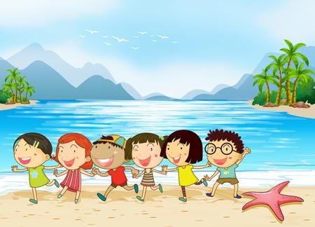 Kids enjoying at the beach Vector