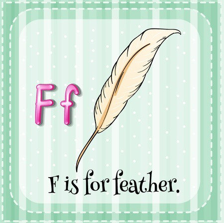 Illustration of a letter F is for feather Vector