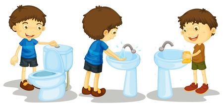 wash hands: Illustration of boy and toilet