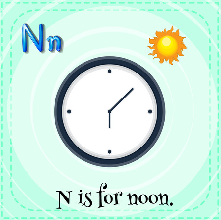 o'clock: Illustration of a letter N is for noon