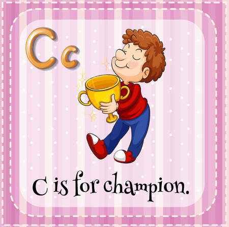 Illustration of a letter C is for champion