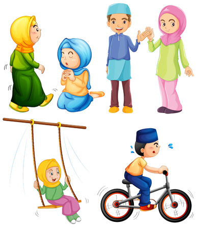 Illustration of different poses of islam people Vector