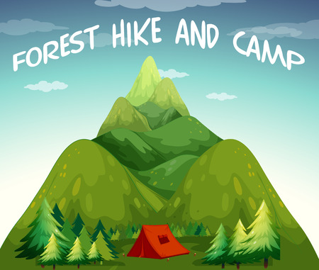 freetime: Illustration of a view  of hiking and camping site Illustration