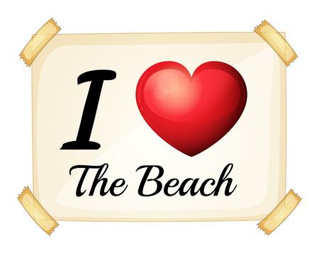 rectangulo: Un cartel que muestra el amor de la playa en un fondo blanco Vectores