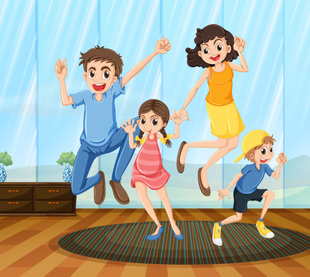 little girl dancing: A happy family dancing inside the house Illustration