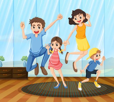 niños bailando: Un baile de familia feliz dentro de la casa Vectores