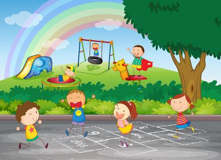Een groep van gelukkige kinderen spelen Stock Illustratie