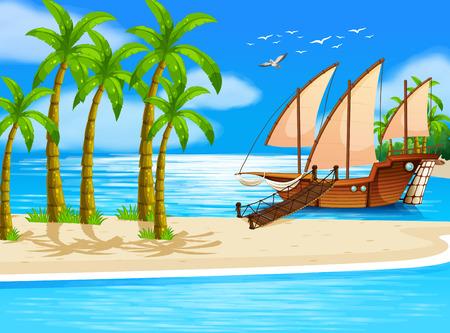 Illustratie van een uitzicht op zee met een schip porting