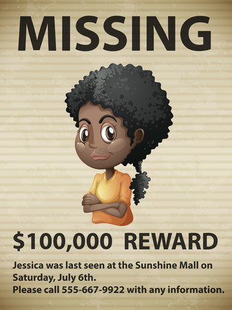Illustration of a missing person poster