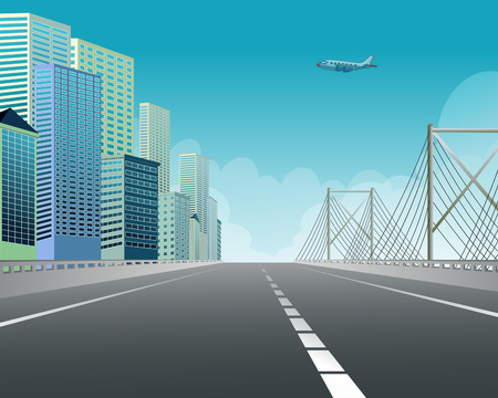 Illustration of an expressway along the city view Vector