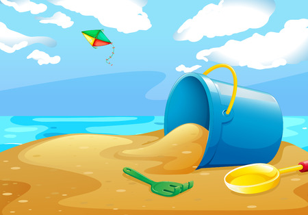 Illustration of a scene of a beach with toys