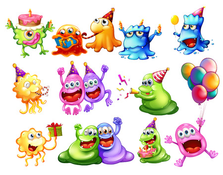 Illustration of many monster having a party Vector