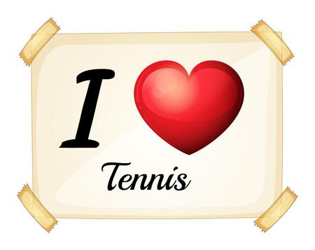 rectángulo: Un cartel que muestra el amor de tenis sobre un fondo blanco