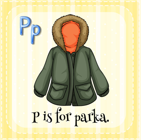 warmer: A letter P for parka Illustration