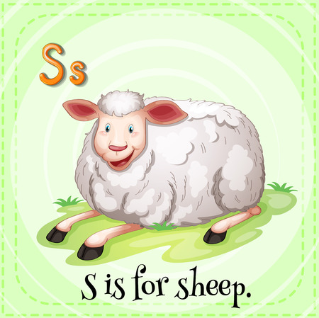 child s: Illustration of a letter S is for sheep