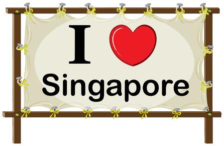 rectángulo: Una se�alizaci�n que muestra el amor de Singapur sobre un fondo blanco