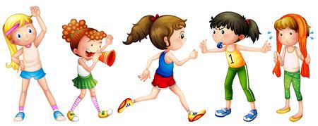 showering: Illustration of many girls doing exercise