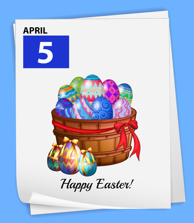 5th: A poster showing the 5th of April on a blue background Illustration