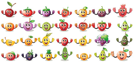 Sets of fruit faces on a white background Vector