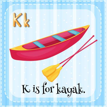 kayak: A letter K for kayak Illustration