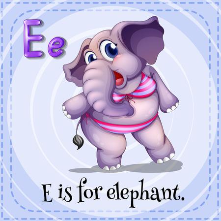 alfabeto con animales: Ilustración de una letra E es para elefante