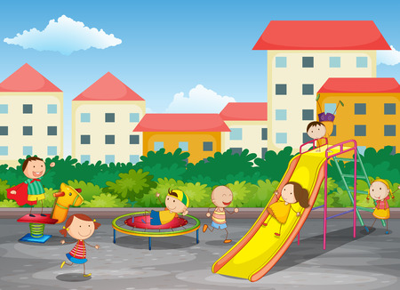 kids playing outside: A playground with children playing Illustration