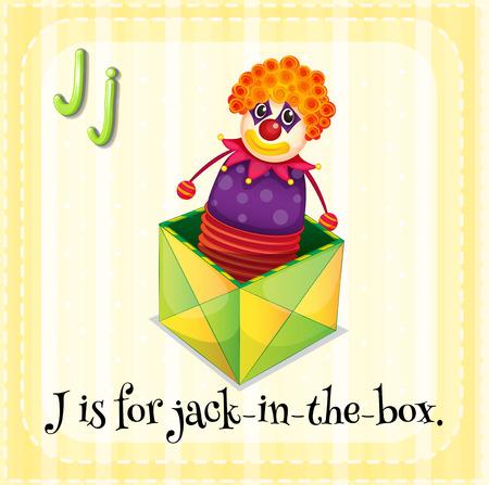 letter j: Illustration of a letter J is for jack in the box Illustration