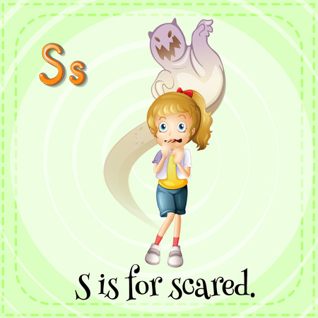 children s: A letter S which stands for scared Illustration