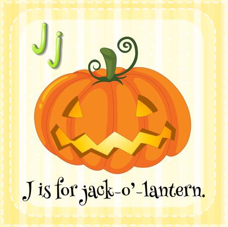 jack o   lantern: Illustration of a letter J is for jack o lantern Illustration
