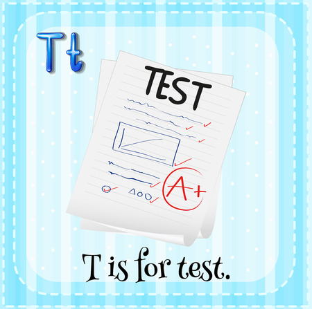 spelling: Illustration of a letter T is for test