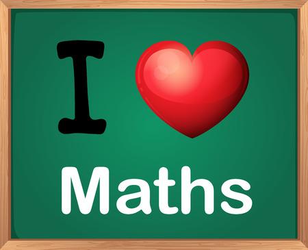 saying: Illustration of a sign saying I love maths
