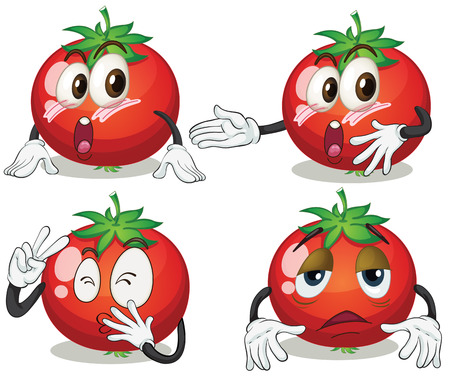 Illustration of tomato in different emotions Vector