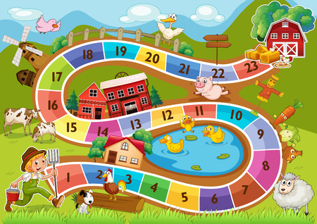11 number: A colourful boardgame Illustration