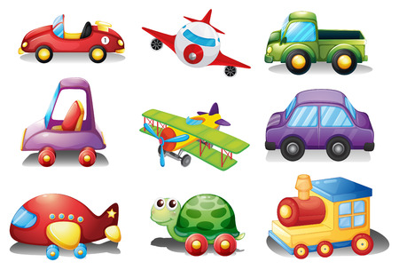 A collection of toys on a white background Illustration