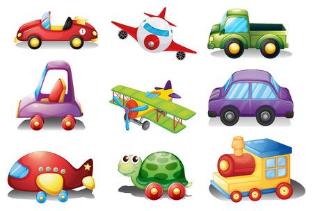 carro caricatura: Una colecci�n de juguetes sobre un fondo blanco