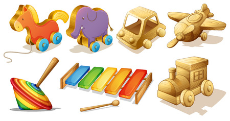 Illustratie van vele soorten houten speelgoed
