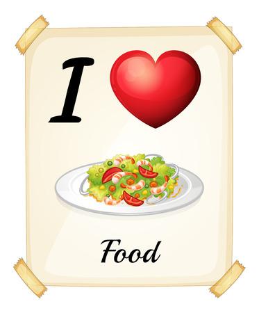 rectangulo: Una tarjeta de memoria flash que muestra el amor de alimentos sobre un fondo blanco