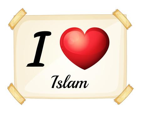 rectángulo: Una tarjeta de memoria flash que muestra el amor del Islam sobre un fondo blanco Vectores