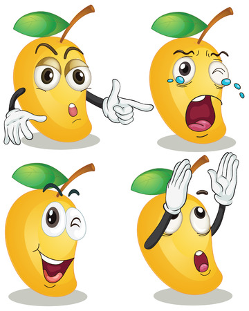 group picture: Illustration of mango with facial expressions Illustration