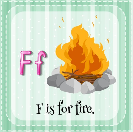 linguistic: Illustration of a letter F is for fire